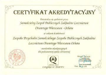 Certyfikat akredytacyjny 2018