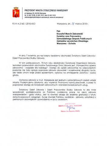 Życzenia od Prezydent m. st. Warszawy