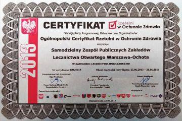 certyfikat-rzetelni-w-ochronie-zdrowia 2013