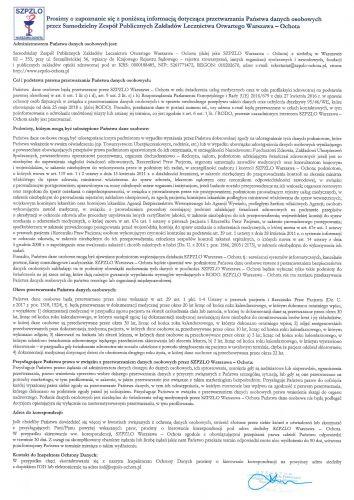 Klauzula Informacyjna dotycząca Przetwarzania Danych Osobowych