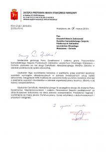 Gratulacje dla SZPZLO Warszawa - Ochota